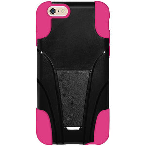 AMZER Double Layer Hybrid Case with Kickstand - Black/ Hot Pink for iPhone 6