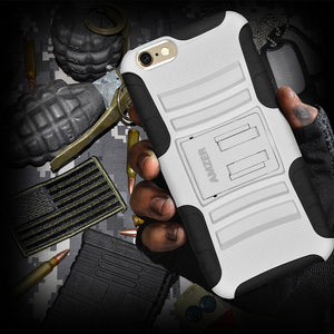AMZER Hybrid Kickstand Case - Black/ White for iPhone 6