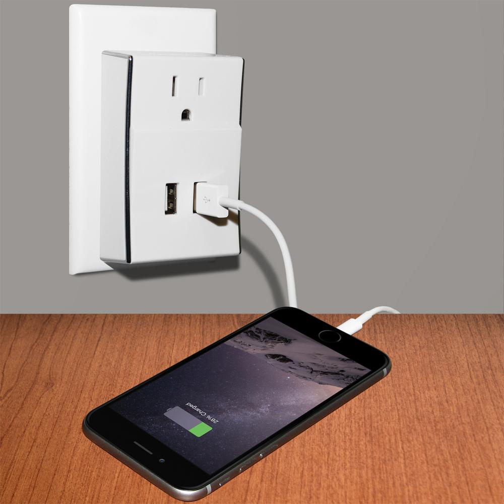 Amzer Dual USB PLATE eXtender Power Wall Charger - White