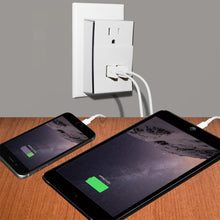Load image into Gallery viewer, Amzer Dual USB PLATE eXtender Power Wall Charger - White