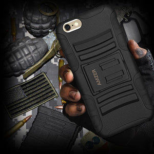 AMZER Hybrid Kickstand Case - Black/ Black for iPhone 6 Plus
