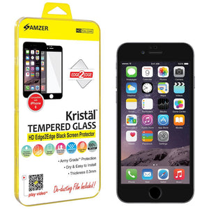 AMZER Kristal Tempered Glass HD Edge2Edge Black Screen Protector for iPhone 6