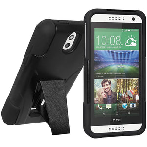 AMZER Double Layer Hybrid Case with Kickstand - Black/ Black for HTC Desire 610