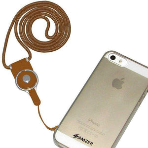 AMZER Durable Detachable Cell Phone Neck Lanyard - Brown