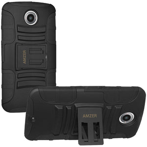 Amzer Hybrid Kickstand Case - Black/ Black for Motorola Nexus 6 XT1103, Google Nexus 6 XT1100, Google Nexus 6 XT1103