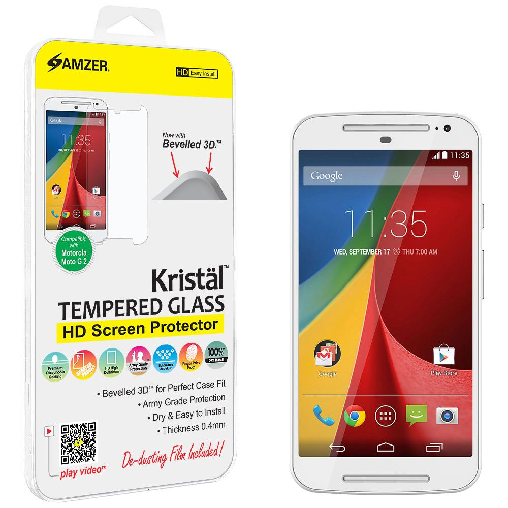 AMZER Kristal Tempered Glass HD Screen Protector for Motorola Moto G 2nd Gen