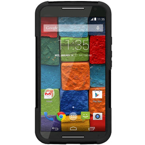 AMZER Double Layer Hybrid Case with Kickstand for Motorola Moto X 2nd Gen - Black/ Black