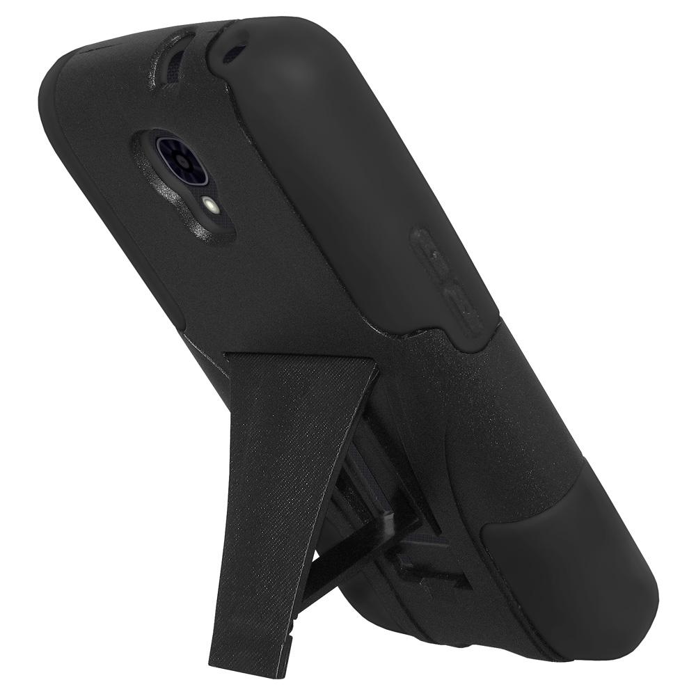 AMZER® Double Layer Hybrid Case with Kickstand - Black/ Black for LG Volt LS740