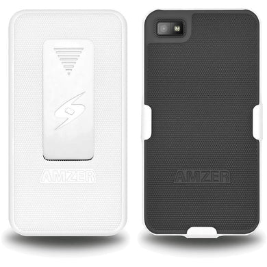 AMZER Shellster Hard Case  Belt Clip Holster for BlackBerry Z10 - White & Black