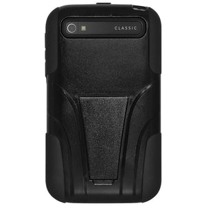 AMZER Double Layer Hybrid Case with Kickstand for BlackBerry Classic- Black/ Black