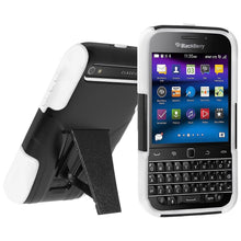 Load image into Gallery viewer, AMZER Double Layer Hybrid Case with Kickstand - Black/ White for BlackBerry Classic
