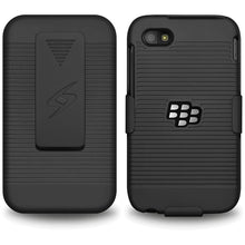 Load image into Gallery viewer, AMZER Shellster Hard Case with Belt Clip Holster for BlackBerry Q5 - Black