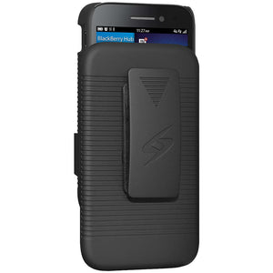 AMZER Shellster Hard Case with Belt Clip Holster for BlackBerry Q5 - Black
