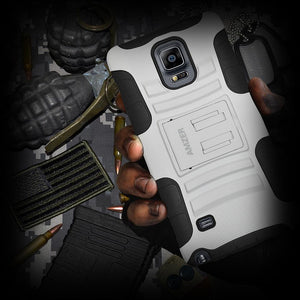 AMZER Hybrid Kickstand Case - Black/ White for Samsung GALAXY Note 4 SM-N910