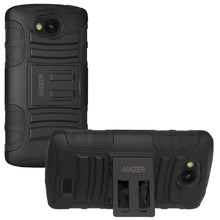 Load image into Gallery viewer, AMZER® Hybrid Kickstand Case - Black/ Black for LG Optimus F60 MS395