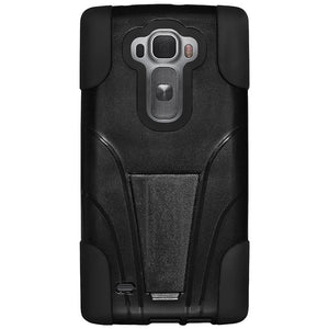AMZER Double Layer Hybrid Case with Kickstand - Black/ Black for LG G Flex 2