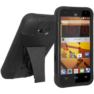 AMZER® Double Layer Hybrid Case with Kickstand - Black/ Black for ZTE Overture 2 Z813