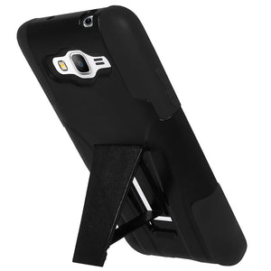 AMZER Double Layer Hybrid Case with Kickstand - Black/ Black for Samsung GALAXY Core Prime SM-G360