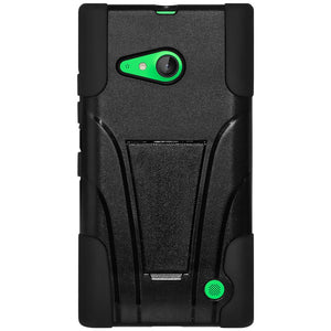 AMZER Double Layer Hybrid Case with Kickstand - Black/ Black for Microsoft Lumia 735