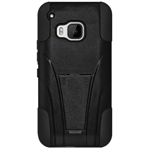 AMZER Double Layer Hybrid Case with Kickstand - Black/ Black for HTC One M9