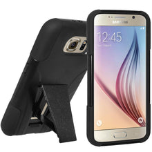 Load image into Gallery viewer, AMZER Double Layer Hybrid Case with Kickstand - Black/ Black for Samsung Galaxy S6 SM-G920F