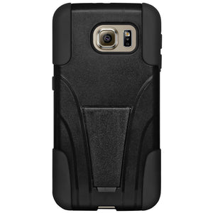 AMZER Double Layer Hybrid Case with Kickstand - Black/ Black for Samsung Galaxy S6 SM-G920F