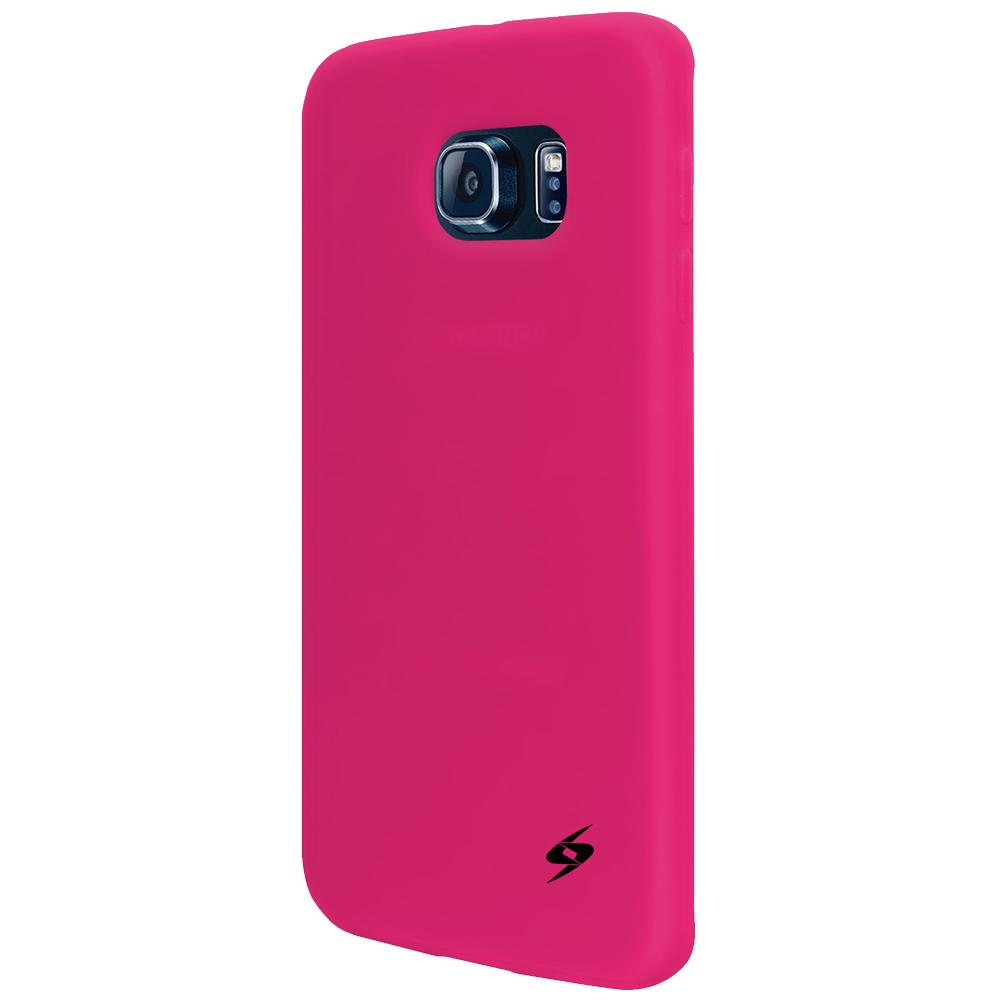 AMZER Silicone Skin Jelly Case for Samsung Galaxy S6 edge - Hot Pink