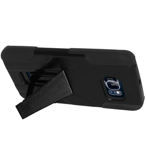 AMZER Double Layer Hybrid Case with Kickstand - Black/ Black for Samsung Galaxy S6 edge SM-G925F