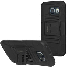 Load image into Gallery viewer, AMZER Hybrid Kickstand Case - Black/ Black for Samsung Galaxy S6 edge SM-G925F