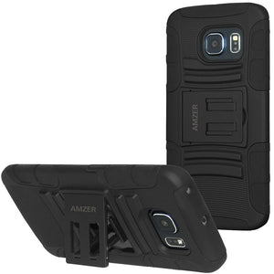 AMZER Hybrid Kickstand Case - Black/ Black for Samsung Galaxy S6 edge SM-G925F