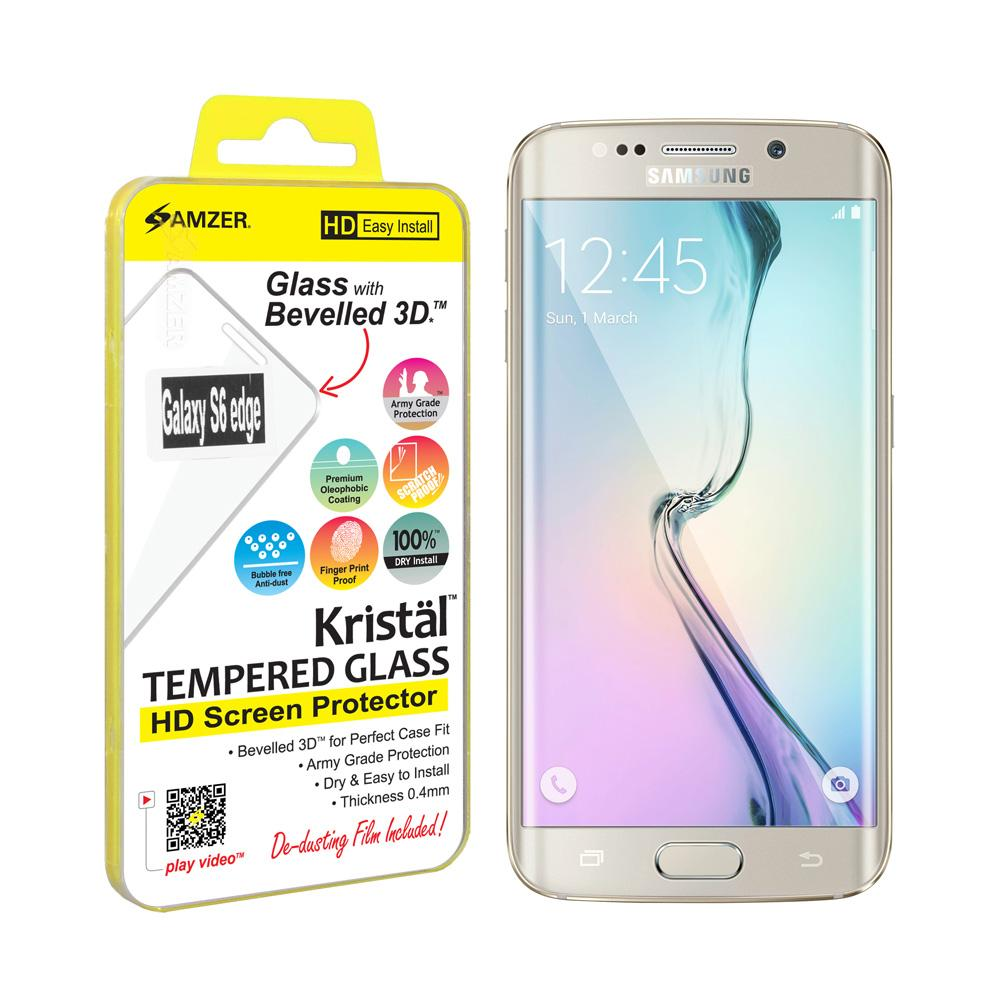 AMZER Kristal Tempered Glass HD Edge2Edge Clear Screen Protector for Samsung Galaxy S6 edge