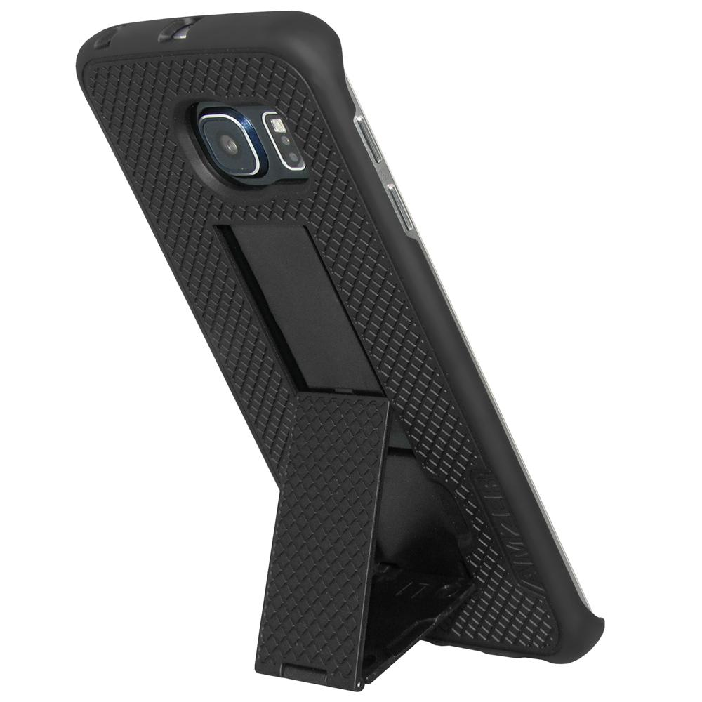 AMZER Snap On Case with Kickstand - Black for Samsung Galaxy S6 edge SM-G925F