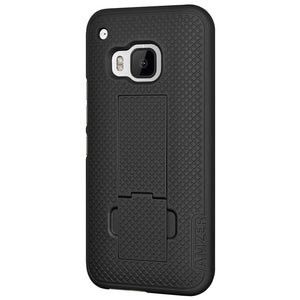 AMZER Shellster Hard Case with Belt Clip Holster for HTC One M9 - Black