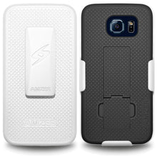 Load image into Gallery viewer, AMZER Shellster Hard Case Clip Holster for Samsung Galaxy S6 - White/Black