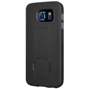 AMZER Shellster Hard Case Clip Holster for Samsung Galaxy S6 - White/Black