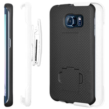 Load image into Gallery viewer, AMZER Shellster Hard Case Clip Holster for Samsung Galaxy S6 edge - White/Black