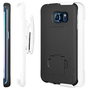 AMZER Shellster Hard Case Clip Holster for Samsung Galaxy S6 edge - White/Black