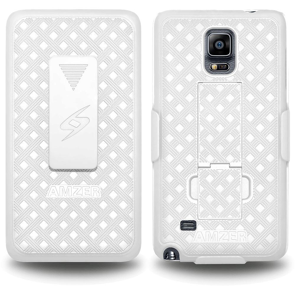 AMZER Shellster Hard Case  Belt Clip Holster for Samsung GALAXY Note 4 - White