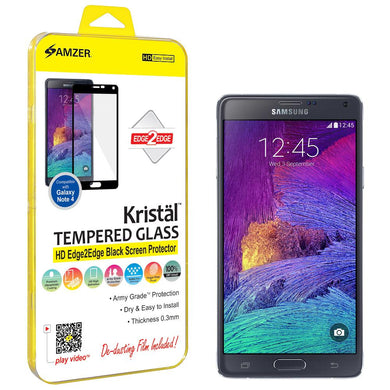 AMZER Kristal Tempered Glass HD Edge2Edge Black Screen Protector for Samsung GALAXY Note 4 SM-N910