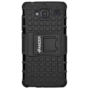 AMZER Shockproof Warrior Hybrid Case for Xiaomi Redmi 2 - Black/Black