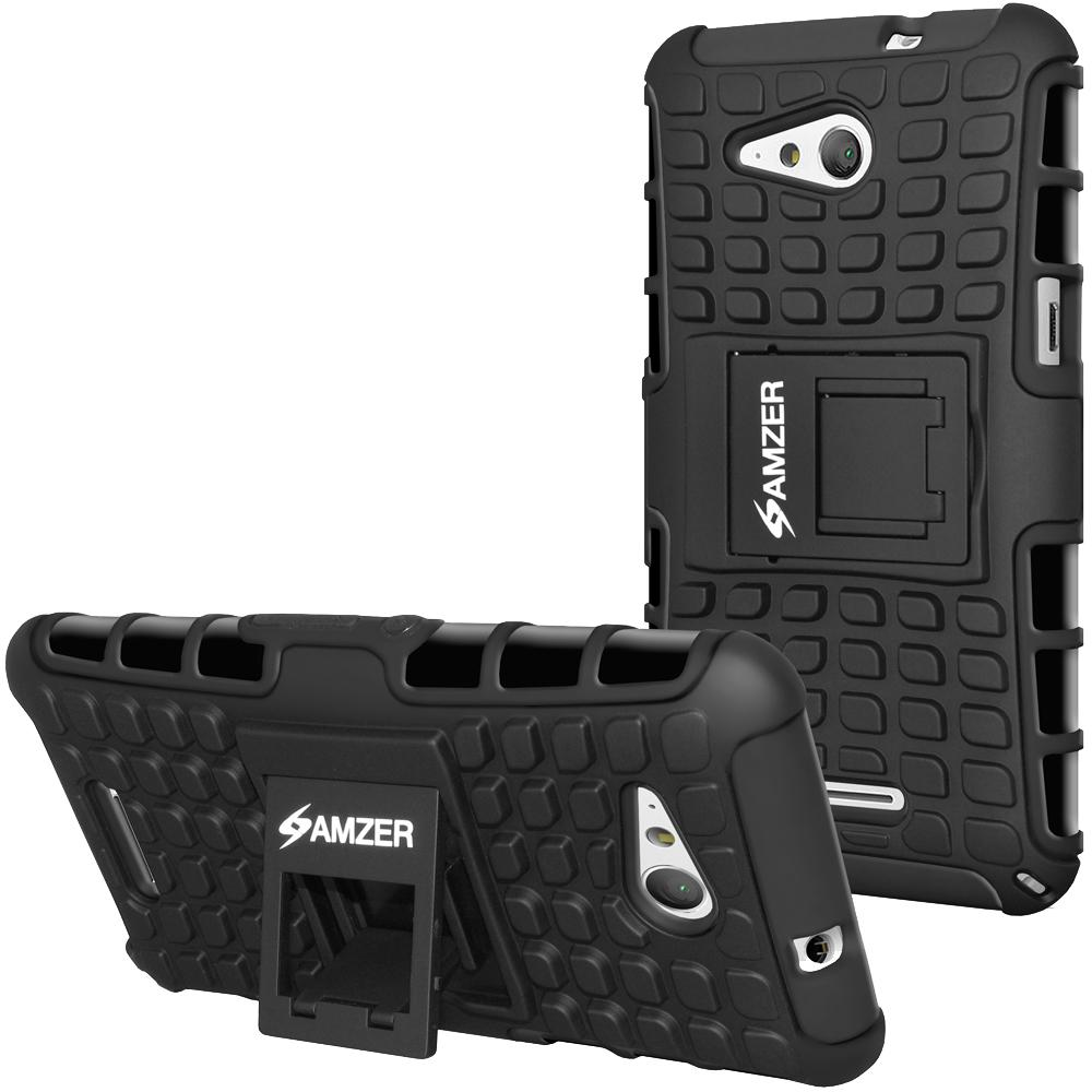 AMZER Shockproof Warrior Hybrid Case for Sony Xperia E4G - Black/Black