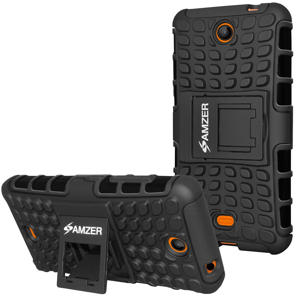 AMZER Shockproof Warrior Hybrid Case for Microsoft Lumia 430 - Black/Black
