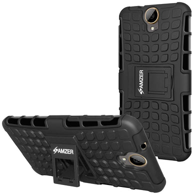 AMZER Shockproof Warrior Hybrid Case for HTC One E9 PLUS - Black/Black