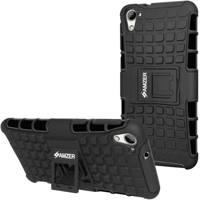 AMZER Shockproof Warrior Hybrid Case for HTC Desire 826 - Black/Black