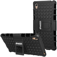 Load image into Gallery viewer, Amzer Hybrid Warrior Case - Black/ Black for Sony Xperia Z3 PLUS, Sony Xperia Z4