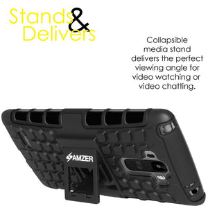AMZER Hybrid Warrior Case for LG G Stylo LS770 - Black/Black