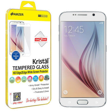 AMZER Kristal Tempered Glass HD Edge2Edge White Screen Protector for Samsung Galaxy S6