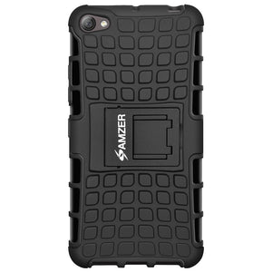 AMZER Shockproof Warrior Hybrid Case for Lenovo S60 - Black/Black