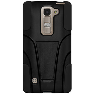 AMZER Double Layer Hybrid Case with Kickstand - Black/ Black for LG Escape 2