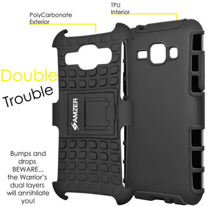 AMZER Shockproof Warrior Hybrid Case for Samsung GALAXY J1 - Black/Black